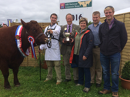 Tullamore Show 2016 Champion Clew Bay Kate owner Declan Bell with judge Rob & Kath Livesley & family UK